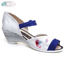 Wholesale Folk Shoes - Beijing shoes strap wedge sandals female summer 2016 new folk style shoes fish mouth shoes