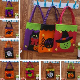 Wholesale pumpkin cats - Halloween Gift Bag Pumpkin Handbag Candy Ghost Cat Tricks Halloween Decoration Drawstring Bag Handbag Party Favors IB339