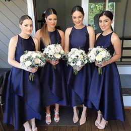 Wholesale Taffeta Jewel Tea - 2017 Tea Length Bridesmaid Dresses Asymmetrical Bridesmaids Dresses Jewel Neck Sleeveless Custom Made Blue Maid of Honor Gowns for Wedding