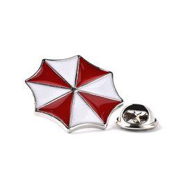 Wholesale Umbrella Brooch Pin - Resident Evil Umbrella Corporation Embroidered Logo Metal Badge Brooch Pin Red And White Umbrella Brooch