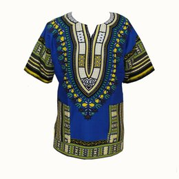 Wholesale Traditional Top For Women - Traditional African Clothing for Women Shirt Dress Mens Bazin Riche Orange Dashiki Tops Plus Size Summer Print Blouse