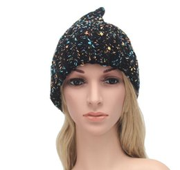 Wholesale Wholesale Cuffed Beanies - 2017 New Beanie caps Warm women fashion Pointed Top Cuffed Winter Knitted Hat Beanie 3 color