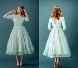 Wholesale Mint Color Long Sleeve Dresses - 2018 New Mint Green Lace wedding Dresses Long Sleeves Bateau Tea-Length Cheap Modest Country Maid of Honor Party Gowns Plus Size bridal gown