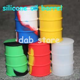 Wholesale Wholesale Large Glass Jars - Non stick large 26ml silicone oil container dab wax oil concentrate silicone oil barrel drums silicone jars glass bong