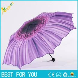 Wholesale Wholesale Folding Umbrella Silver - New hot Sun umbrella outdoor anti-UV silver plastic sunflower creative three fold sunny folding umbrella