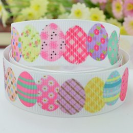 "Wholesale Wholesale Easter Grosgrain Ribbon - Free shipping 7 8"" 22mm Easter painted eggshell Printed grosgrain ribbon hairbow DIY handmade wholesale OEM 50YD"