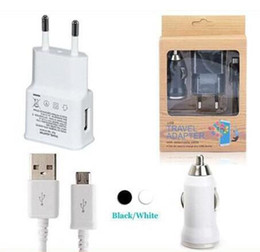 Wholesale Charge Sync Dock - 3 in 1 US EU Home Travel Adapter 2A Wall Charger + Mini Car Charger + Sync Charging Cable For Samsung Sony HTC Smartphones 300pcs