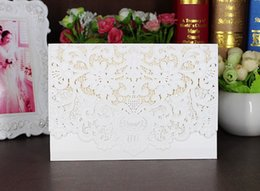 Wholesale Back Seat Folding Table - New Champagne Floral Laser Cut Wedding Invitations Table Card Seat Card Place Card For Wedding Favors And Gifts Free Shipping