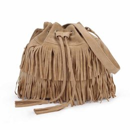 Wholesale Fringe Bag Brown - Wholesale-Women Faux Suede Fringe Tassel Messenger Bag 3 Colors Cross Body Handbag Bucket Bag Women shoulder messenger handbag bag