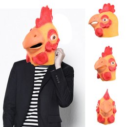 Wholesale Latex Chicken Mask - Halloween Masks Animal Chicken Head Latex Mask Full Face Head Party Mask Dance Party Costume Masks Fancy Dress Theater Toys