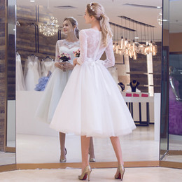 Wholesale Net Beach Skirt - Beautiful Country Knee Length Short Wedding Dresses Sheer Neck Lace Beach Summer Bridal Gowns With Sleeves Puffy Netting Sash Bow vestidos
