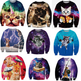 Wholesale Sweatshirt Hoodies Funny - Wholesale-20 cute cat styles!women men Harajuku sweatshirt 3d animal print galaxy space cat sweatshirt hoodies funny pizza winter clothes