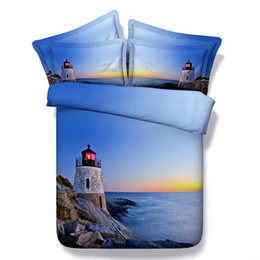 Wholesale Bedding Sets For King Size - Blue Lighthouse 3D Printed Bedding SetsTwin Full Queen King Size Bedspreads Duvet Cover Set for Children Bedroom Decor Sunset Sea Stone Reef