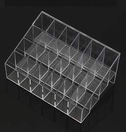 Wholesale Makeup Holders Organizers - Wholesale-Fress shipping Clear Acrylic 24 Lipstick Useful Holder Display Stand Cosmetic Organizer Makeup Case Hot Sell