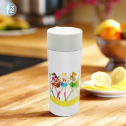 Wholesale Kids Plastic Water Cups - Watercolor Modern Japanese Anime Sailor Moon Personalized Wide Mouth Cup BPA Free Plastic Kids Girl Insulated Water Bottle 300ml