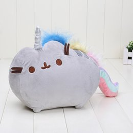 Wholesale Rainbow Plush - 20*25cm Kawaii Cute Pusheen Cat Rainbow unicorn Cake Style Plush Toys pillow stuffed toys doll free shipping