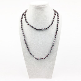 Wholesale Hematite 6mm - ST0294 2016 New Arrivals 6MM Facted Hematite Necklace 38'' Long knotted necklace Hematite bead jewelry for women