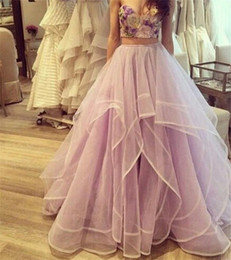 Wholesale Long Tutu Black Skirts - New Fashion Lavender Princess Skirts High Waist Tiered Tulle Tutu Long Skirts Women Tulle Evening Wear Floor Length