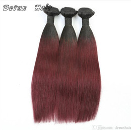 Wholesale Two Toned Peruvian Virgin Hair - Virgin Ombre Hair Two Tone Color 1B 99J Straight Human Hair Weaves Brazilian Peruvuan Malaysian Indian Virgin Human Hair 3 Bundles lot