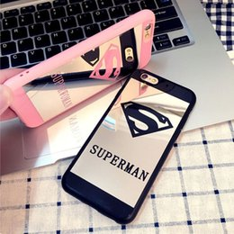 Wholesale Full Superman - For iPhone X Superman Mirror Silicone Soft Case TPU Protection Cover Full edge For iphone 8 6 Plus 5 5s Cases With DHL