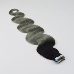 Pack vague de corps en Ligne-Ombre Brésilienne Body Wave Tape Dans Les Extensions De Cheveux Humains Deux Ton T1b Gris 2.5g / pcs 40pcs / pack