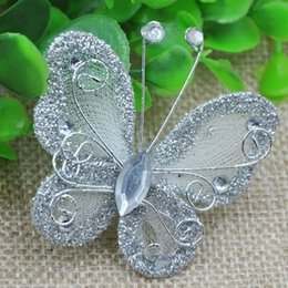 Wholesale Silver Butterfly Wedding Decorations - Hot sale 45*50mm Silver Organza wire butterfly with glitter wedding decorations Free shipping 100pcs lot