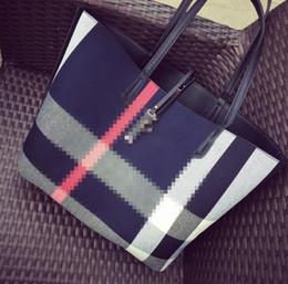 Acheter des photos en Ligne-Nouvelle arrivée marque femmes toile écossaise PU épaule shopping seau image paquet femme composite sac
