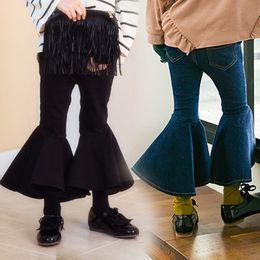 Wholesale Vintage Cargo Pants - Everweekend Girls Boot Cute Denim Pants Vintage Cute Children Fashion Ruffles Autumn Spring Pants Sweet Baby Clothing