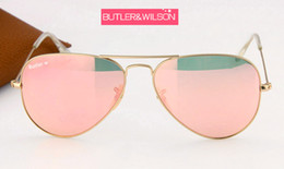 Wholesale Gold Lens Mirror Sunglasses - 2017 new top fashion women men metal frame glass lens sunglasses pilot gold pink flash mirror blue in case 58mm
