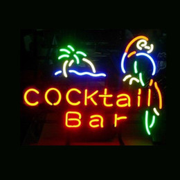 Wholesale Parrot Green Glass - COCKTAIL BAR PARROT Real Glass Neon Light Sign Home Beer Bar Pub Recreation Room Game Room Windows Garage Wall Sign