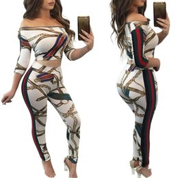 Wholesale Womens Tops Neck Design - Womens Printed Gold Chain Tracksuits 3 4 Sleeved Crop Top + Slim Leggings Sports Wear Suits High Quality Running Jogging African Designed