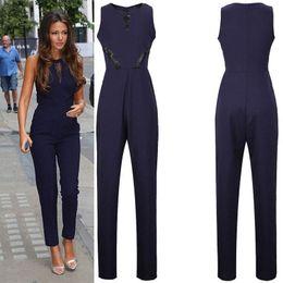 Wholesale Casual Elegant Jumpsuit - 2016Womens Elegant Vintage Lace Pocket Tunic Slim Sleeveless Casual Work Office Party Sheath Fitted Black dark blue Romper Jumpsuit