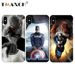 Wholesale Marvel Casing - Marvel Avengers Comics Phone Case for iPhone X 8 7 Plus 6s iPhone8 capinhas Hard Slim PC Case Superman Captain Amercan Shield
