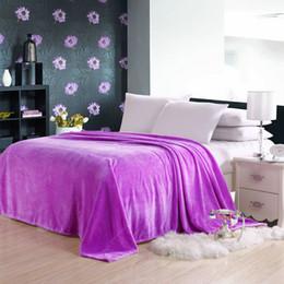Wholesale Flannel Sheets Full - Coral Fleece Blanket Flannel Fleece Blanket Solid Color Spring and Summer Towels Sierran Blanket For Bedding Sheet