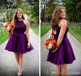 5d64a5bb14f cheap junior plus size dresses Promo Codes - 2016 New Purple Short  Homecoming Dresses Halter Backless