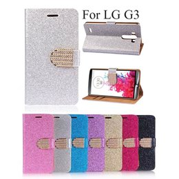 Wholesale Lg Optimus Wallet - Luxury Bling Crystals Glitter Flip Leather Case Cover For LG Optimus G3 L70 D850 D855 Wallet Phone Bag Rhinestone Cover + Card Slot