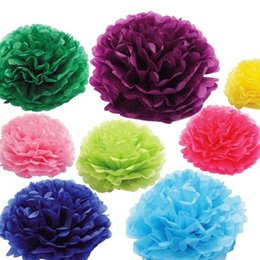 Wholesale Large Christmas Ball Decoration - Large Colorful Tissue Paper Pom Poms 16 Colors 12 inch(30cm) Blooming Flower Balls Wedding Party Festival Decorations 10pcs lot