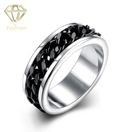 Wholesale Steel Rotating Rings - Gay Engagement Rings Unique Cool 316L Stainless Steel Ring with Black Color Rotating Chain in The Center Jewellery Wholesale