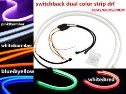 Wholesale Led Headlight Strip - flexible DRL strip 30cm 45cm 60cm 85cm 90cm Illuminating White blue red greem Amber pink Switchback LED Strip Lights For Headlight Retrofit