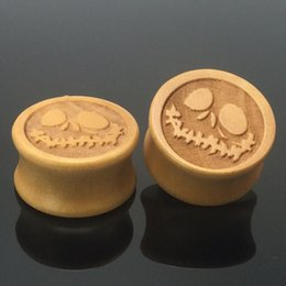 Wholesale Ear Plug Skull - wood 24piece skull jack ears piercing plug tunnel body jewelry ear gauges sell in pair 10mm-20mm free shipping