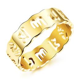 Wholesale Tibetan Wedding Jewelry - Tibetan Jewelry Om Mani Padme Hum Anniversary Wedding Rings in Stainless Steel Mens Spiritual - Silver, Gold