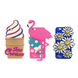 Wholesale Ice Blue Iphone Case - Cute Flamingos Daisy Ice Cream Soft Silicone Case for iPhone 5 5s se 6 6s plus Back Cover Phone Cases