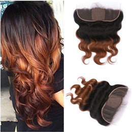 Wholesale Ombre Silk Base Closure - Dark Root Medium Auburn Ombre Silk Base 13x4 Full Lace Frontal Closure Body Wave 1B 30 Ombre Silk Top Frontals With Natural Hairline