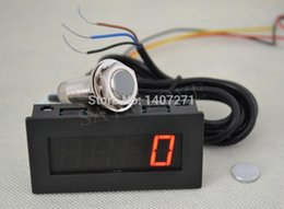 Wholesale Proximity Sensor Switches - Wholesale-Digital Red LED Tachometer RPM Speed Meter + Hall Proximity Switch Sensor NPN free shipping