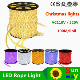 Wholesale Power Pvc - Hot sales 110V 220V 100meters led 2wire round rope light LED Flex Rope Light PVC LED Light led flexible strip with Power plug