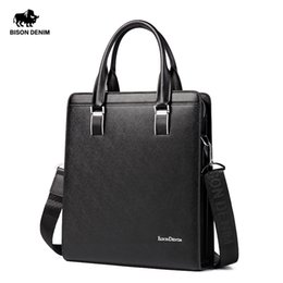 Wholesale Leather Handbag For Tablet - Wholesale-BISON DENIM Cowhide Genuine Leather Bag For Mens Hard Briefcase Business Bag Fashion Blue Classic Tablet Handbag Tote