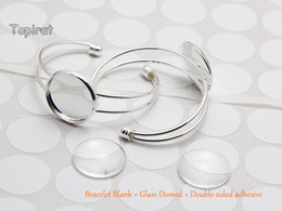 Wholesale Silver Plated Bezel Bracelet Blanks - High Quality 25mm Silver Plated Bangle Base Bracelet Blank + Clear Glass Domed + Double Sided Adhesive 5kit lot