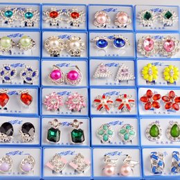 Wholesale Heart Tin Box - Random mix style 30Pairs lot With Box Gold Gem Fashion Earrings wholesale earrings New fashion jewelry top quality HJ002