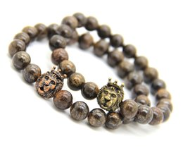 Wholesale African Jewelry Making - Wholesale Men Jewelry Made By 8mm High Quality Bronzite Stone Beads And Lion Head Energy Bracelets