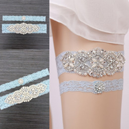 Wholesale Cheap Sexy Legging - Free Shipping sky blue Lace Bridal Garters 2018 Cheap Sexy with Crystal Beads Wedding Leg Garters Bridal Accessories Stunning Garters New